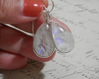Moonstone Earrings Rainbow Moonstone Earrings Silver earrings silver drop earrings moonstone drop earrings dangle earrings June birthstone