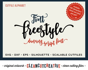 Full Alphabet SVG Font file svg - Happy Fun Script cricut font - Studio3 DXF EPS - Silhouette Cameo - commercial clean cutting digital files