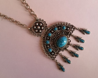 Vintage Southwestern / Native American Turquoise and Silver Statement Necklace - 1970's