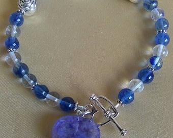Blueberry Quartz Hearts Bracelet