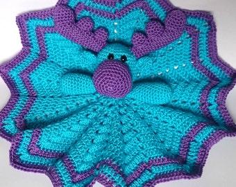 Crochet Moose Baby Comforter / Baby Blankie / Moose Baby Blankie / Red and Yellow Moose / Crochet Baby Toy / Baby Moose / Crochet Comforter