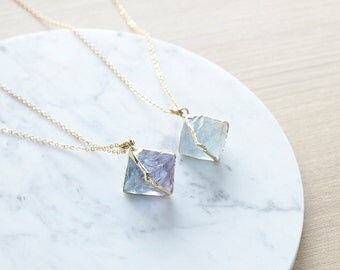 Hexagonal Rare Blue Flourite fashion Pendant With Full Gold Plated Necklace - Gemstone necklace