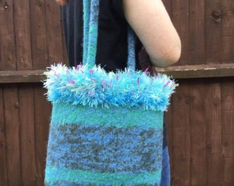 SALE - Green and blue knitted felt bag