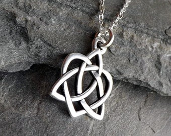 Celtic Open Heart Necklace / Small Silver Celtic Heart Knot Necklace / Silver Heart / Sterling silver chain