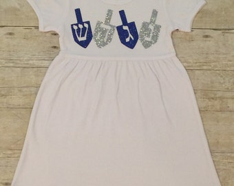 Girls' Hanukkah Blue and Silver Glitter Dreidel Dress