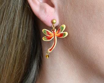 Short Dragonfly Silhouette earrings