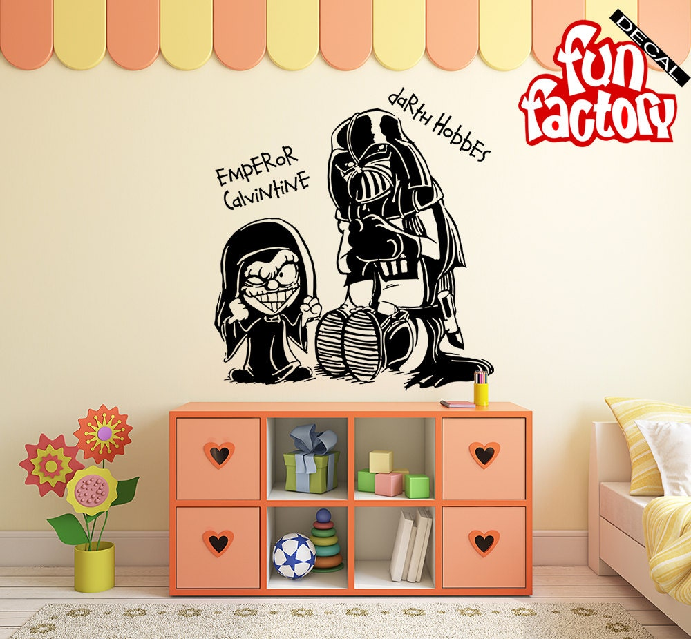Calvin hobbes star wars wall decal kids boy girl nursery for Calvin and hobbes nursery mural