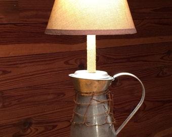 Rustic Metal Pitcher Lamp