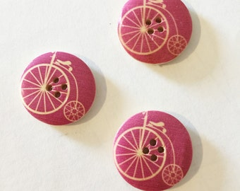 Purple Bicycle Button - Bike Button Craft Supply - Extra Large Button Craft Supply - 25 mm Button Sewing Notion - Mixed Buttons