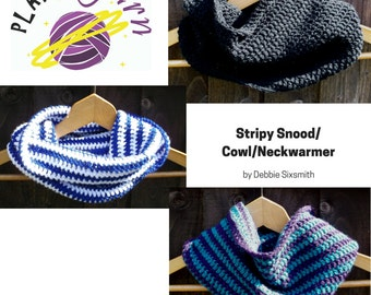 PDF Pattern Stripy Snood / Cowl / Neckwarmer crochet pattern  Level: easy
