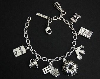 Baking Bracelet. Baking Charm Bracelet. Baker Bracelet. Silver Bracelet. Pastry Chef Jewelry. Handmade Jewelry.