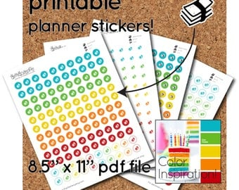 Printable Stack of Money Stickers - half-inch round - 120 per sheet - stickers for planners and calendars