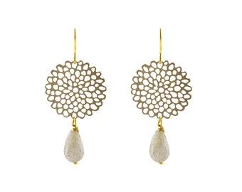 Brass Peony earrings with labradorite
