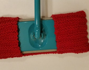 Knit reusable washable dry/wet floor mop covers