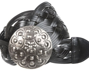 2 Inches Wide Leather Braided Disc Buckle Belt(BD101)