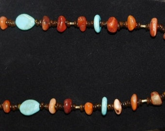 Carnelian & Turquoise with brown shell necklace