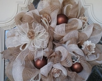 Burlap and Lace deco mesh wreath can be used year round neutral color will go anywhere