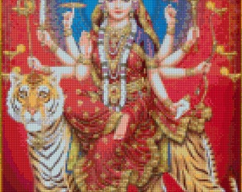 Durga Devi Hindu Goddess Cross Stitch pattern - PDF - Instant Download!