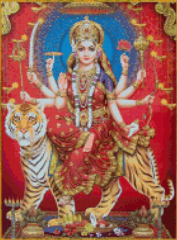 Calendar Art Of Hindu Gods : Durga devi hindu goddess cross stitch pattern pdf instant