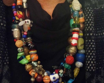 Ethnic Adjustable Mixed Media Beaded Necklace from Ethiopia