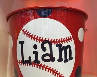 Personalized Baseball Bucket-Monogrammed Bucket- 5 Quart Bucket- Easter Bunny Bucket- Personalized Children's Gift- Sports Bucket- Pail