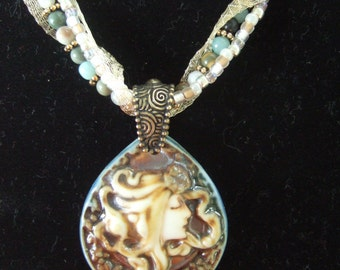 Necklace, Pendant, Cameo, Beaded