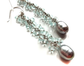 Aquamarine Earrings--Aquamarine and Freshwater Pearl Earrings--Aquamarine Jewelry--Freshwater Pearl Jewelry