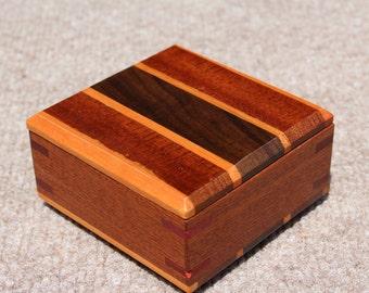 Small Keepsake/Ring/Stash/Jewelry Box handcrafted from Mahogany, Walnut, White Oak, Padauk, and Purpleheart