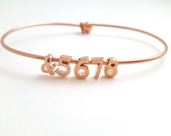 Dance Bracelet &5678 Bangle Dancer 8-count Dance Teacher Gift Recital Dainty Numbers Simple Tiny Jazz Tap Ballet Gold Silver Rose Gold