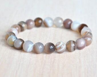Beaded bracelet|Gemstone bracelet|Gift|for her|women's bracelet|Botswana agate bracelet