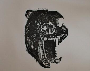 BEAR SKULL //Handmade Lino Print