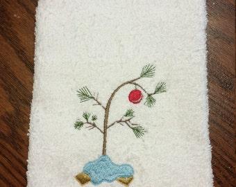 tiny christmas tree hand towel - Tiny Christmas Tree