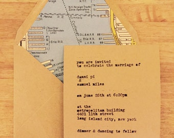 10 sets of  hand typed (wedding) invites and envelopes with vintage map lining