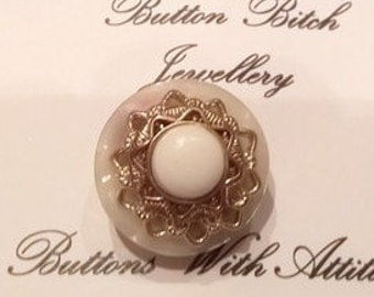 Vintage Pearl, White & Gold Button Brooch