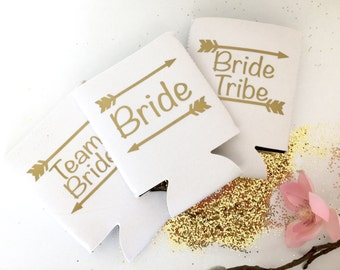 Bride Tribe Cooler, Personalized Drink Holder, Bridal Party Can Cover, Bachelorette Party Can, Stubby Holder, Can Cooler, Beer Sleeve