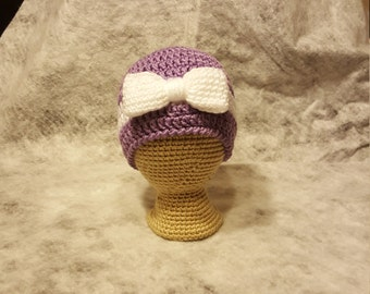 Girls Crochet Hat with Bow