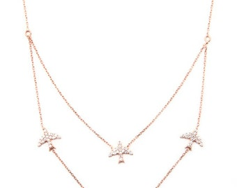 White Four Birds Necklace. 925 Sterling Silver.