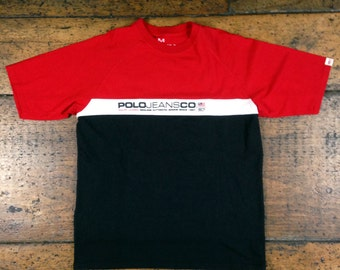 90s | POLO Jeans Co RL 67 by Ralph Lauren color block tee