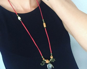 Maritime leather necklace with anchor and control cross pendant