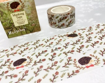 hedgehog washi tape 10M x 2cm porcupine echidna deco masking tape little forest animal sticker tape removable adhesive gift wrapping tape