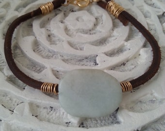 Handmade blue stone and leather bracelet