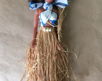 Polynesian or Hawaiian Barbie Doll Look a Like Doll. Doll in Grass Skirt. Hula Doll