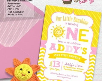 You are my Sunshine First Birthday Party invitations DIY Summer printable invite Sunshine pink and Yellow invitations