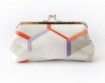 Vintage Japanese Obi Clutch Purse | Geometric Heaxagon in ivory, red and lilac