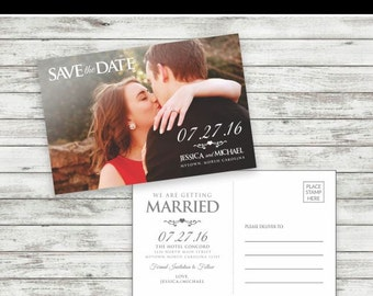 Wedding Save-the-Date postcard 5x7, Save the Date postcard, Wedding Postcard - Printable