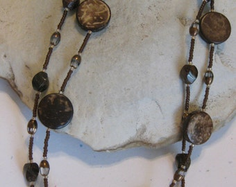 Bronzite and carved wood, 2 strand long necklace (see matching earrings)