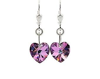 SWAROVSKI Mini Heart Sterling Silver Earrings in Light Vitrail