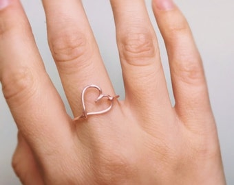 Heart Rose Gold Side Ring, Rose gold ring, Heart ring, Rose gold heart, Wire ring, Love ring, Stack ring, Bridesmaids ring