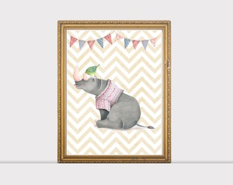 Nursery Animal Rhinoceros Print, Baby Animal Art, Nursery Decor, Cute Nursery Art, Baby Animal Print,  Rhinoceros print, Whimsical Print
