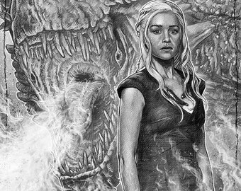Daenerys and The Dragon - Game of Thrones illustration A3 print